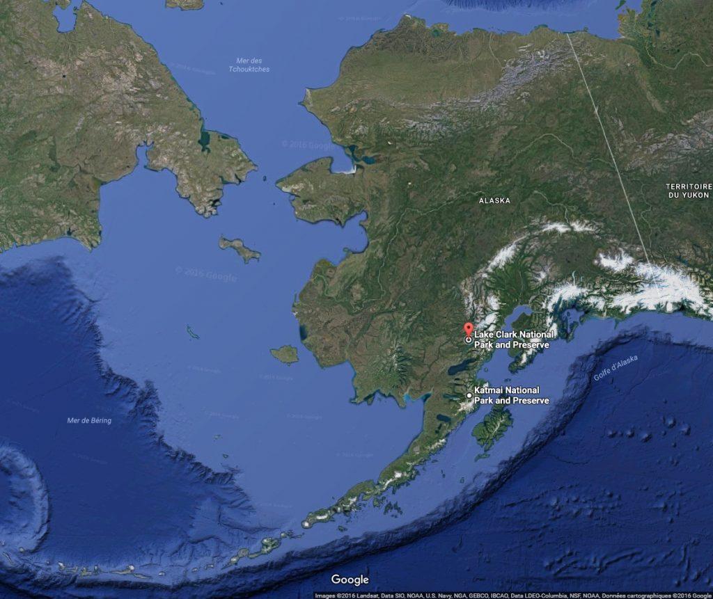 Carte avec zone de chasse à l'ours en Alaska avec Orchape