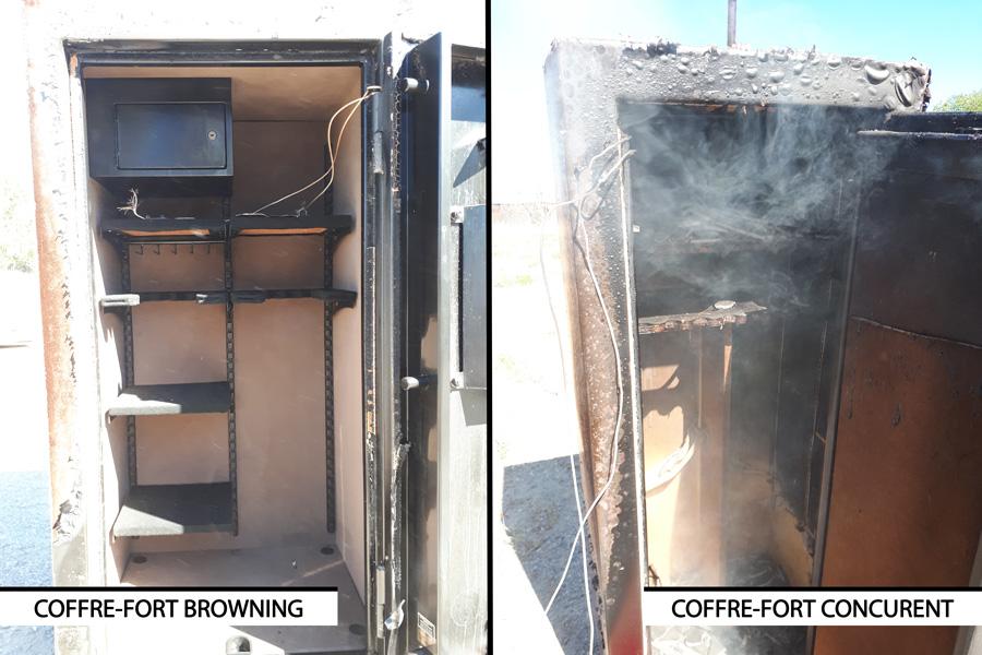 Blog Browning : coffre-fort Browning vs concurrent - résistance au feu